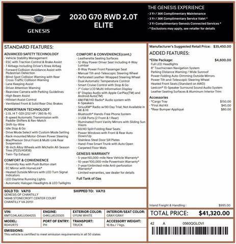 2020 Genesis G70 2.0T for sale near Chantilly, VA