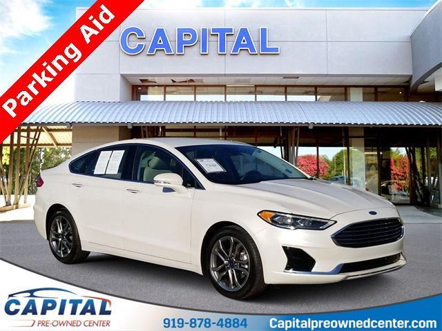 White Platinum Metallic Tri-Coat 2019 Ford Fusion SEL 4D Sedan Raleigh NC