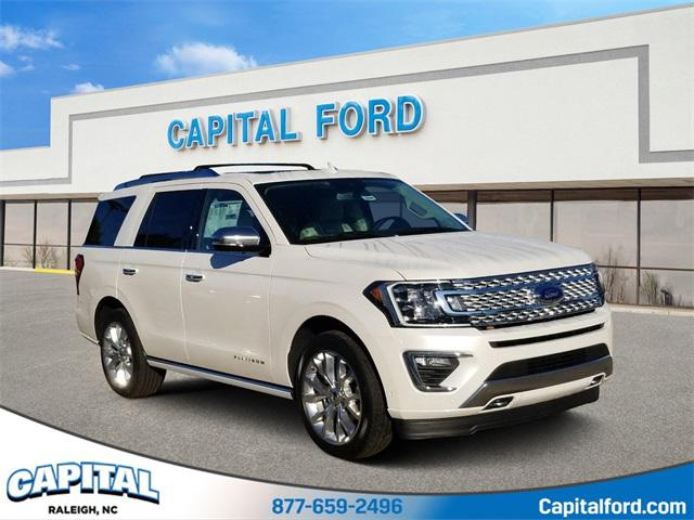 White Metallic 2019 Ford Expedition Platinum 4D Sport Utility Raleigh NC